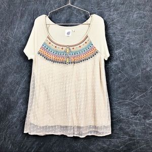 Lilka Anthropologie Aztec top lace overlay